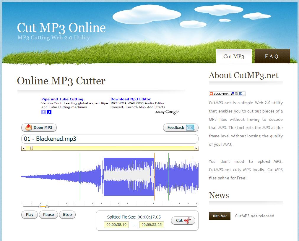 Cutmp3 couper un mp3 en ligne slydnet - Couper morceau mp3 en ligne ...